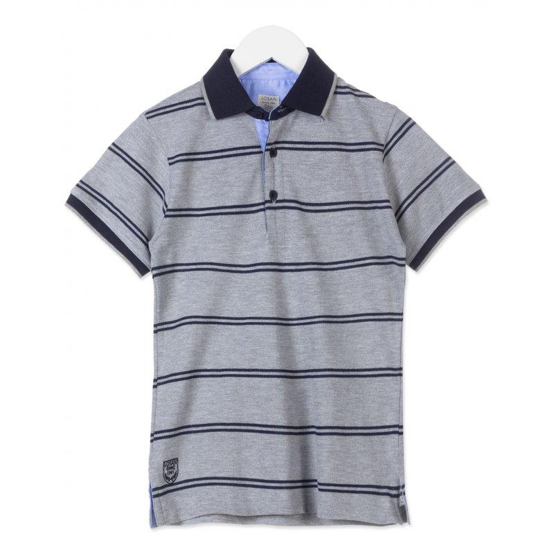 Losan Poloshirt T Shirt Polokragen Grau Marine 21 95