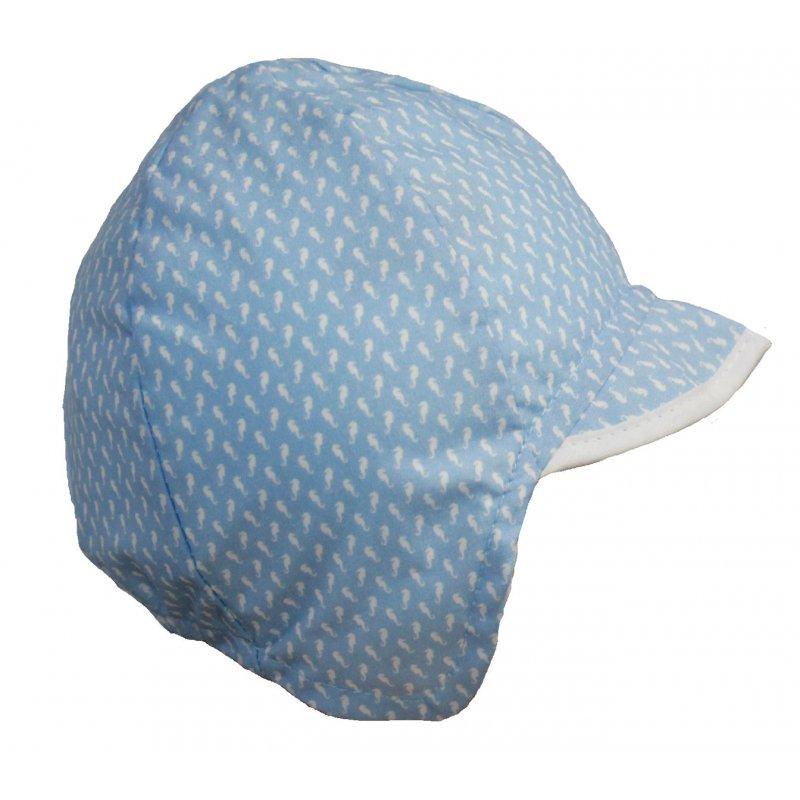 Maximo Baby Mütze Schildmütze Bindemütze UPF 40 hellblau gemustert 015133563d8