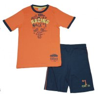 Blue Seven Set T-Shirt Shorts Bermuda Orange Blau