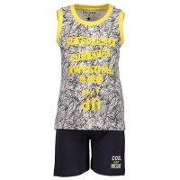 34e37503888f93 Blue seven Jungen Sommer Set T-Shirt Tank Bermuda Shorts weiß gelb schwarz