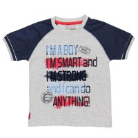 Boboli T-Shirt I can do anything hellgrau blau