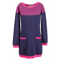 Happy girls Strickkleid Kleid Langarm navy blau pink...