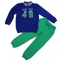 Kanz Basic Jogginganzug Sweatjacke Jogginghose true blue green