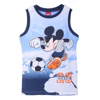 Disney Mickey Mouse Top Trägershirt T-Shirt Fußball blau marine
