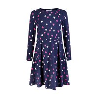 Happy girls Kleid Langarm bunte Herzen navy blau